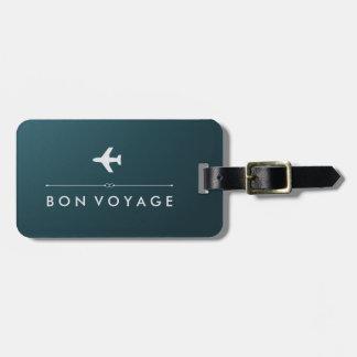 Buen viaje azul y de plata elegante del aeroplano etiquetas para maletas