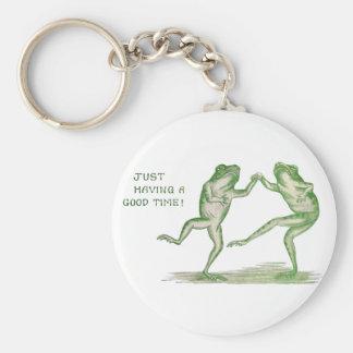 Buen vintage de la danza de las ranas del tiempo llavero redondo tipo chapa