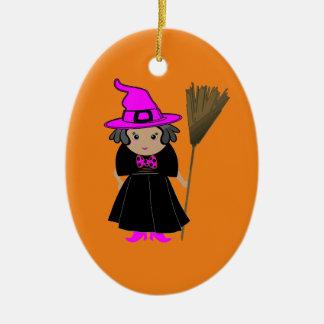 Buena bruja - ornamentos de encargo del árbol de adorno navideño ovalado de cerámica