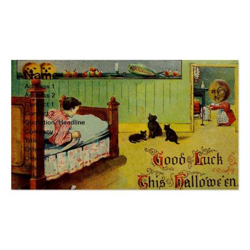 Buena suerte este Halloween (tarjeta de Halloween  Plantillas De Tarjeta De Negocio