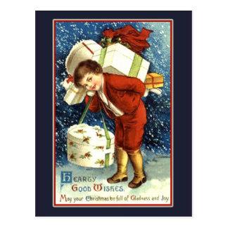 Buena tarjeta de Navidad calurosa del vintage de Postal