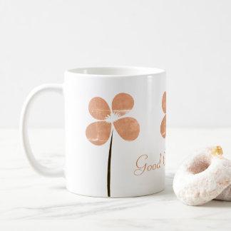 Buena taza de café floral linda
