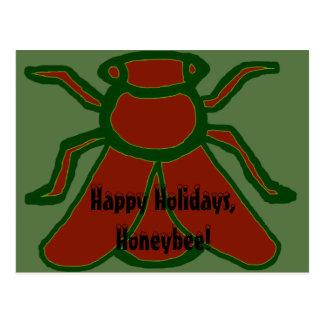 ¡Buenas fiestas, abeja! Postal de la abeja de Yule