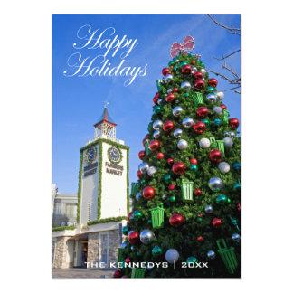 Buenas fiestas - árbol de navidad en el mercado de invitación 12,7 x 17,8 cm