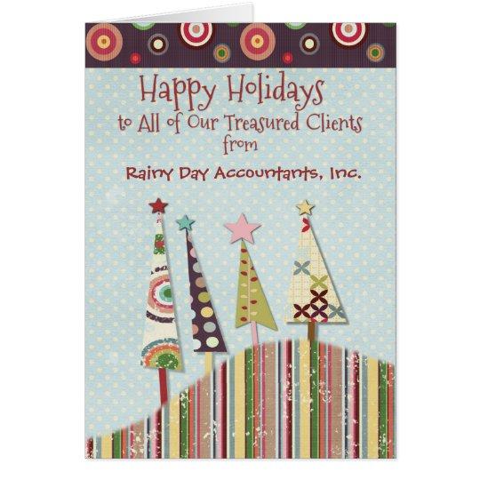 Buenas fiestas árboles coloridos de encargo del tarjeta de felicitación