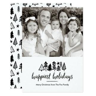 Buenas fiestas árboles de navidad de la acuarela invitación 12,7 x 17,8 cm