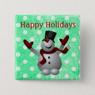 Buenas fiestas botón del navidad del muñeco de