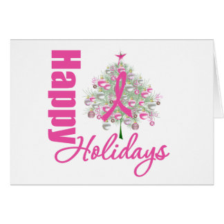 Buenas fiestas cinta del rosa del cáncer de pecho tarjeta de felicitación