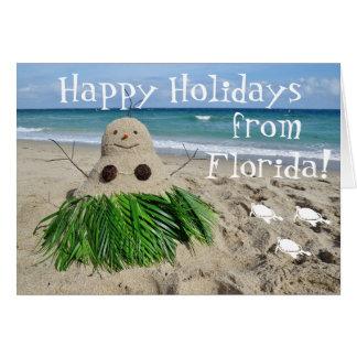 Buenas fiestas coco del muñeco de nieve del tarjeta