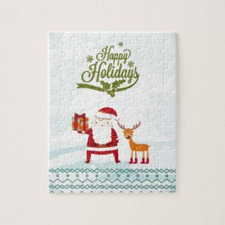 Buenas fiestas con Papá Noel y Rudolf Puzzle