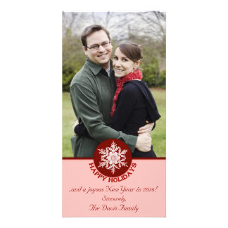 Buenas fiestas copo de nieve de papel rojo 4x8 tarjeta