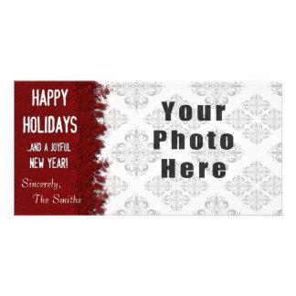 Buenas fiestas copo de nieve rojo tarjeta
