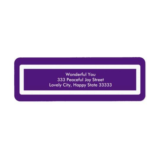 Buenas fiestas diseño púrpura etiqueta de remitente