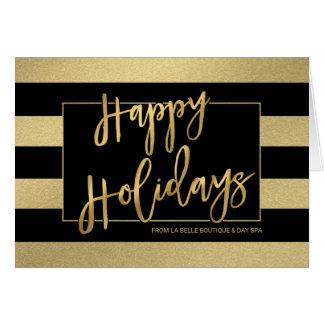 Buenas fiestas el oro de moda raya la tarjeta de felicitación