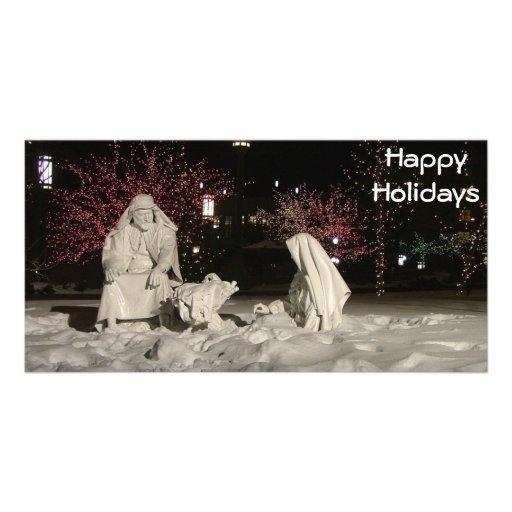 Buenas fiestas escena del navidad tarjetas fotograficas