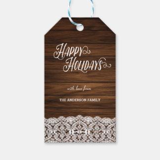 Buenas fiestas etiquetas de madera del regalo etiquetas para regalos