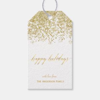 Buenas fiestas etiquetas del regalo del brillo del etiquetas para regalos