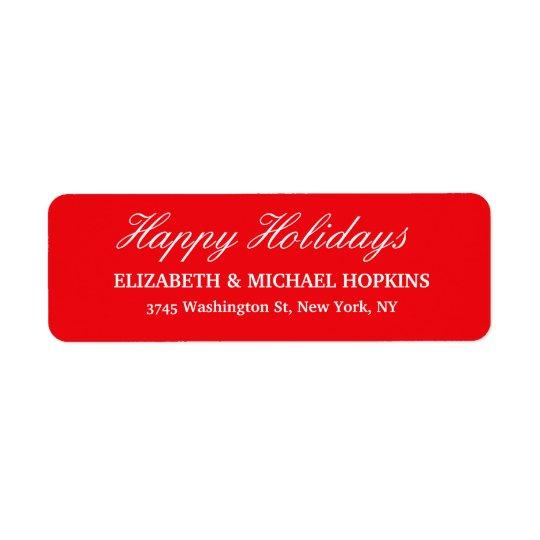 Buenas fiestas familia blanca roja de las Felices Etiqueta De Remitente