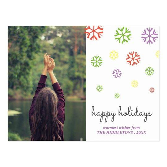 Buenas fiestas foto colorida de la escritura de postal