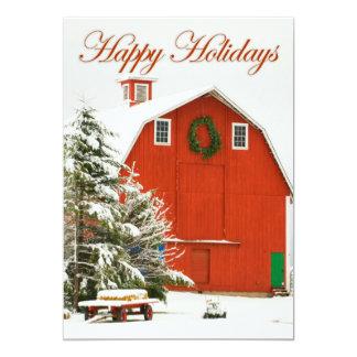 Buenas fiestas - granero rojo festivo en nieve invitación 12,7 x 17,8 cm