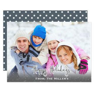 Buenas fiestas gris simple de la nieve de la invitación 12,7 x 17,8 cm