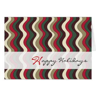 Buenas fiestas línea ondulada verde rojo y oro del tarjeta de felicitación