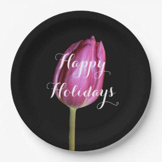 Buenas fiestas negro floral de la flor rosada del plato de papel