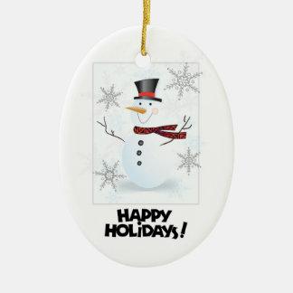 Buenas fiestas ornamento oval del árbol Snowman1 Adorno Navideño Ovalado De Cerámica
