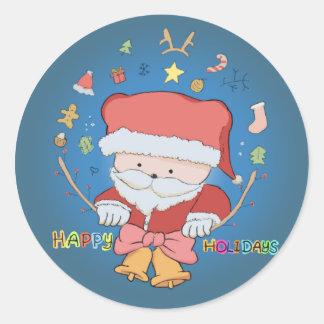Buenas fiestas oso de Santa Pegatina Redonda