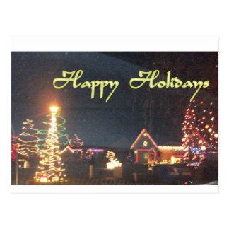 Buenas fiestas paisaje hermoso de la noche tarjeta postal