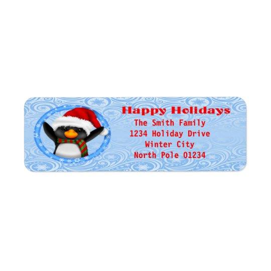 Buenas fiestas pingüino lindo etiqueta de remitente