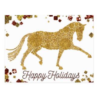Buenas fiestas postal del caballo del Dressage del