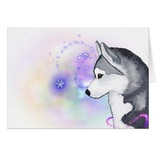 Buenas fiestas ráfaga de nieve del husky siberiano tarjeta pequeña