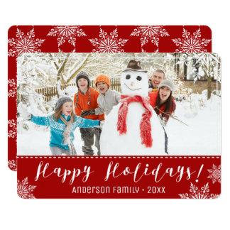 Buenas fiestas rojo y foto personalizada blanco invitación 12,7 x 17,8 cm