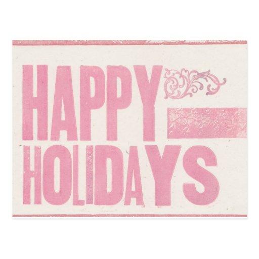 Buenas fiestas rosa impreso prensa de copiar de la postal