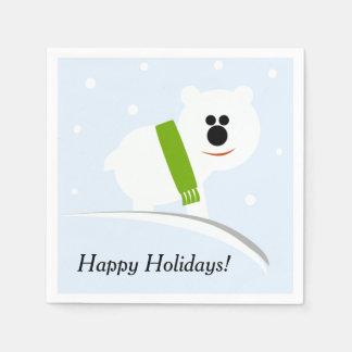 Buenas fiestas servilletas de papel del oso polar