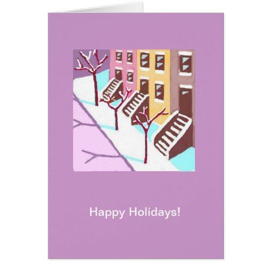 Buenas fiestas tarjeta (calle secundaria de New