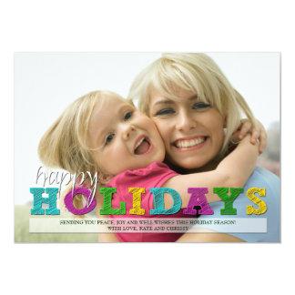 Buenas fiestas tarjeta colorida de la foto del invitación 12,7 x 17,8 cm