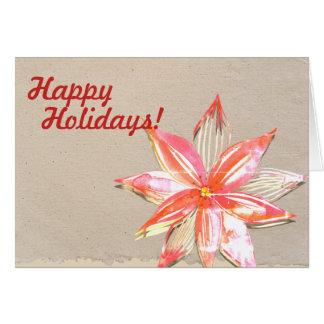 Buenas fiestas tarjeta con diseño del Poinsettia