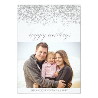 Buenas fiestas tarjeta de Navidad de plata del Invitación 12,7 X 17,8 Cm