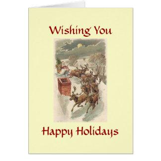 Buenas fiestas tarjeta de Navidad de Santa del