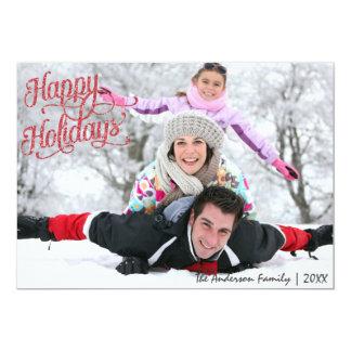 Buenas fiestas tarjeta de Navidad roja del brillo Invitación 12,7 X 17,8 Cm
