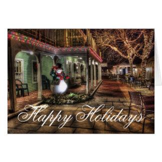 Buenas fiestas tarjeta de Navidad urbana de las