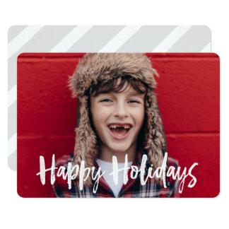 Buenas fiestas tarjeta tipográfica de la foto del invitación 12,7 x 17,8 cm