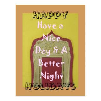 Buenas fiestas tenga Niza un día y una mejor noche Postal