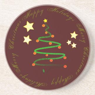 Buenas fiestas y Felices Navidad Posavasos De Arenisca