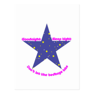 Buenas noches estrella apretada del chinche del postal