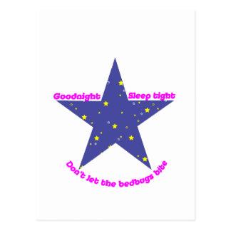 Buenas noches estrella apretada del chinche del tarjetas postales