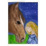 Buenas noches mi tarjeta de nota del caballo y del