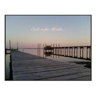 Buenas noches sometidas de la puesta del sol postal